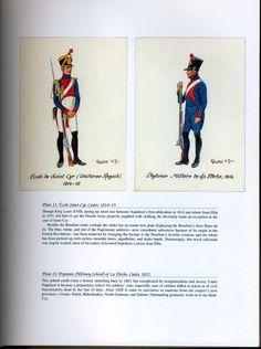 """National Guard, Schools, Guards of Honor: Plate 11: École Saint-Cyr, Cadet"""" 1814-15. + Plate 12: Prytanée (Military School) of La Flèche, Cadet, 1812."""