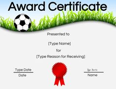 Free Soccer Certificate Maker Edit Online And Print At Home With Regard To Soccer Award Certificate Templates Free - Professional Templates Ideas Certificate Of Appreciation, Certificate Of Achievement, Award Certificates, Best Templates, Templates Printable Free, Letter Templates, Certificate Maker, Birth Certificate Template, Edit Online