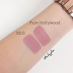 "Colourpop liquid lipstick in ""Midi"" ($6) vs. for Anastasia Beverly Hills ""Pure Hollywood"" ($20)."