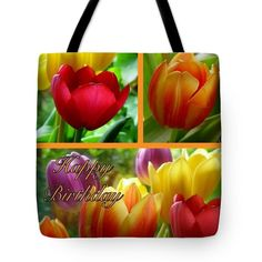Rainbow Tulips Birthday Greeting 3 Tote Bag by Joan-Violet Stretch