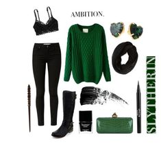 Slytherin - winter outfit in 2019 themed clothes слизерин, г Harry Potter Mode, Harry Potter Style, Harry Potter Outfits, Slytherin Clothes, Hogwarts Uniform, Hogwarts Outfit, Harry Potter Kleidung, Mode Collage, Winter Outfits