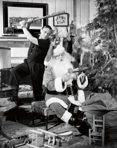 Peter Lorre and Sidney Greenstreet celebrating Christmas at Warner Brothers, 1942.