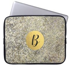 Gold Glitter Crackle Modern Chic Glam Sparkle Laptop Sleeve - marble gifts style stylish nature unique personalize