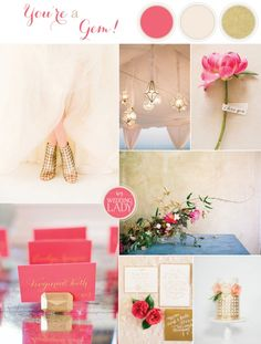 Glamorous Modern Wedding Inspiration Fuchsia, Blush, and Gold with Geometric Details | See More! http://heyweddinglady.com/glamorous-geometric-wedding-inspiration-in-fuchsia-blush-and-gold/