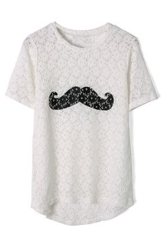 Moustache White Lace T-shirt - Best Sellers - Retro, Indie and Unique Fashion