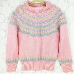 Vintage Sweaters - 80s Sparkle Acrylic Pastel Ski Waves Sweater