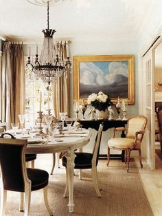 Dining room chairs in design projects by Mary Mcdonald Dining Room Inspiration, Interior Design Inspiration, Interior Ideas, Mary Mcdonald, Dining Room Design, Dining Rooms, Dining Table, Wood Table, Dining Set