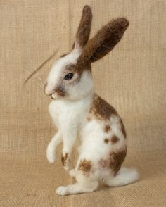 Oscar the Rabbit: Needle felted sculpture by The Woolen Wagon