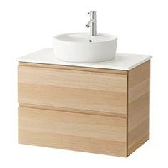 """GODMORGON/ALDERN / TÖRNVIKEN Cabinet, countertop, 19 5/8"""" sink - white stained oak effect, white - IKEA"""