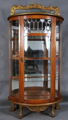 Beveled Glass Display With Desk | 45A: Oak China Cabinet With Beveled Glass  Front Panel