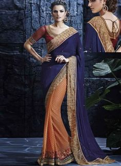 Wonderful Blue Orange Embroidery Work Net Wedding  Sarees http://www.angelnx.com/Sarees/Wedding-Sarees