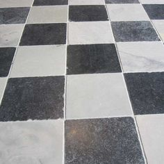 Belgravia Stone Quarry Tiles   Antiqued, Old Looking White With Grey Tones  And Black Chequered