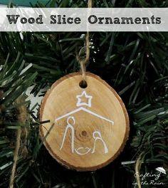 DIY wood slice ornaments #handmade #christmas #ornament
