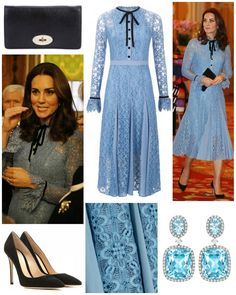 October 10 2017 The Duchess returned to official duties wearing a dress by Temperley London. It's the Eclipse Lace Collar Dress in Iris. Kate Middleton Latest, Looks Kate Middleton, Estilo Kate Middleton, Kate Middleton Dress, Kate Middleton Prince William, Kate Dress, The Duchess, Collar Dress, Lace Collar