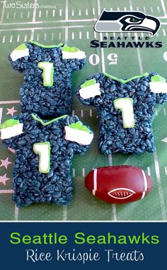 Looking for a fun snack for your Superbowl party?  How about these Seattle Seahawks Rice Krispie Treats Team Jerseys. The Seattle Seahawks fans in your life will think this is the best Superbowl party food of all time!  For more fun Rice Krispie Treats follow us at http://www.pinterest.com/2SistersCraft/