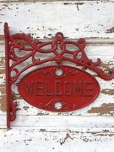 Welcome Sign, French Farmhouse Red, Go Away , Chippy and Distressed , Red Wall Decor. $43.00, via Etsy.