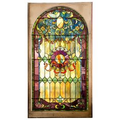 Antique Stain Glass Window from Large Estate For Sale at Antique Stained Glass Windows, Stained Glass Angel, Faux Stained Glass, Antique Glass, Antique Art, Cut Glass, Glass Art, Glass Mirrors, Window Glass