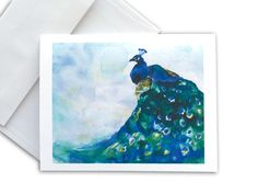 Watercolor Peacock Blue Bird Note Cards Set of 6