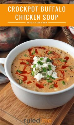 A keto crockpot buffalo chicken soup recipe. This makes a great meal, or even just as a side with a salad. #ketodiet #ketorecipes #ketogenicdiet