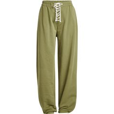 FENTY Puma by Rihanna Lace-Up Sweatpants (225 CAD) ❤ liked on Polyvore featuring activewear, activewear pants, pants, bottoms, jeans, pants and leggings, green, green sweat pants, sweat pants and puma sweatpants