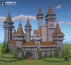 Minecraft City, Minecraft Castle Designs, Minecraft Castle Blueprints, Casa Medieval Minecraft, Minecraft Kingdom, Minecraft Structures, Minecraft Mansion, Minecraft Cottage, Cute Minecraft Houses