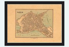 Old Map of Cadiz, Spain 1800