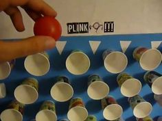 homemade plinko foam board with dixie cups and a ping pong ball put numbers - Halloween Ping Pong Balls