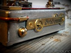 front of new steampunk guitar pedal