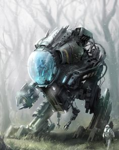 """""""Sci-fi city"""" """"Merc Patrol"""" """"Science mech"""" """"untitled"""" """"Mining settlement"""" Art by Alex Ichim (DA Robot Concept Art, Robot Art, Les Inventions, Futuristic Art, Cyberpunk Art, Matte Painting, Science Fiction Art, Fantastic Art, Awesome Art"""