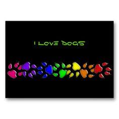 rainbow dog print business card