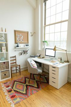 Home office idea. I like the bar on the wall with the little buckets. Just might do that. 6 Things To Do Before Becoming Self-Employed #theeverygirl