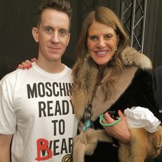 Jeremy & Anna backstage at Moschino FW15