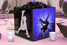 hip hop party theme | Hip Hop Dance Themed Cube Centerpiece with Dancer Silhouettes