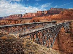 Vermilion Cliffs, Arizona. Bridge, mountain, bro, steel, blue skye, clouds, architechture, beautiful, curves, photo