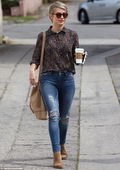 Julianne Hough sported a lovely floral blouse tucked into high waisted ripped skinny jeans as she stepped out on Friday