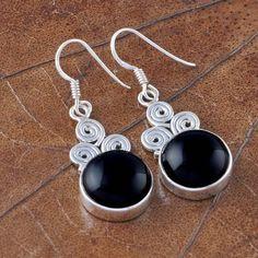 925 STERLING SILVER EXCLUSIVE BLACK ONYX EARRING 7.49g DJER1644 #Handmade #EARRING