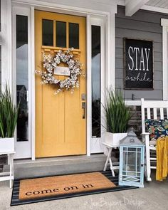 Awesome Oak Front Door So Your House Looks Simple But Awesome Oak Front Door So Your House Looks Simple But Beautiful homedecorideas doordecorations homedesignonabudgetSuper House Front Cottage IdeasSuper House Front Cottage Cottage Front Doors, Yellow Front Doors, Front Door Porch, House Front Door, House With Porch, Front Porches, Small Porches, Front Door Decor, Exterior Door Colors