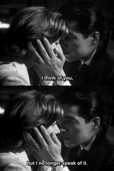 """""""I think of you . but I no longer speak of it"""" - Hiroshima mon amour (Alain Resnais, Citations Film, Movie Lines, Lauren Bacall, Film Quotes, Old Movie Quotes, Hiroshima, Film Stills, Old Movies, Mood Quotes"""