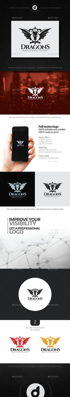 Dragons Logo — Transparent PNG #mythical #wings • Available here → https://graphicriver.net/item/dragons-logo/13732039?ref=pxcr