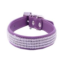 BB Gossip Adjustable 4 Row Diamante Rhinestone Bling Crystal PU Leather Dog Cat Puppy Pet Collar >>> Learn more by visiting the image link.