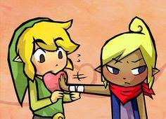 tetra le esta dando a link un corazon