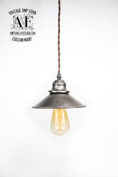 Iron color tiffany shade Edison bulb brass by VintageAmpFunk