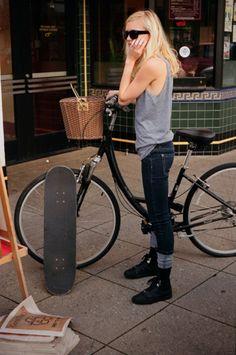 skateboard and bike