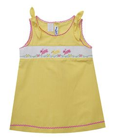 Love this Yellow Bunnies Smocked A-Line Dress - Infant, Toddler & Girls on #zulily! #zulilyfinds