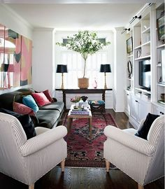 Narrow living room layout go inside house home editor in chief home get vintage and modern decorating ideas and expert design advice narrow living room Small Living Room Layout, Narrow Living Room, Living Room Furniture Layout, Small Room Design, Small Living Rooms, Living Room Designs, Living Room Decor, Modern Living, Narrow Family Room