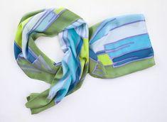 Echarpe de seda pongee com pintura à mão