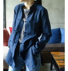 Linen Jacket With Handmade Buttons/ 19  Colors