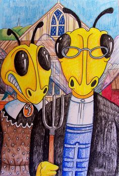 Pastiche The Lost Sock : Art Spoofs, Creative Parody at your school! American Gothic Painting, American Gothic Parody, Middle School Art, High School, 8th Grade Art, Grant Wood, Art Classroom, Classroom Ideas, Arts Ed