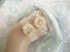 Champagne Wedding Garter /  Rhinestone Garter / by nanarosedesigns, $30.00