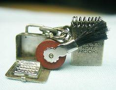 Typewriter Opens Steno Pad Opens Retro Style Eraser 3 Vintage Silver Charms   eBay